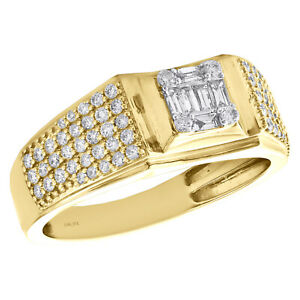 14K Yellow Gold Baguette & Round Cut Diamond Wedding Band 9mm Pinky Ring 3/4 CT