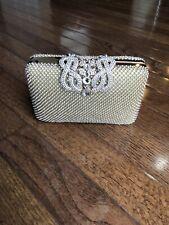 Gold Wedding Rhinestone Multi Stones Beaded Pearls Evening Clutch Bag NWT $70