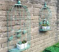 Metal Wall Decor Indoor Outdoor Set of 2 Birdcages 3 Dimensional with Shelf