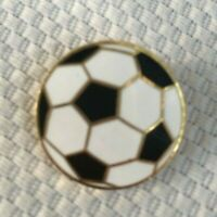 Vintage Soccer Ball Sports Lapel Hat Pin Gold Tone Enamel Decorative Collectible
