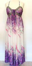 JAUNE ROUGE Size L 14 / 16 Simply Fab Lilac White Multi Beaded Bodice MAXI DRESS