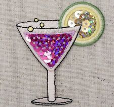 Cocktail/Tropical Drink/Bar Pink Sequin/Lime Iron on Applique/Embroidered Patch