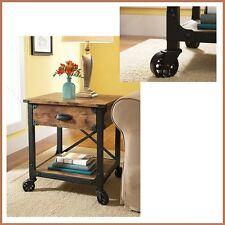 Night Side Bed Coffee Table Drawer Wood Metal Industrial Vintage Cart Furniture