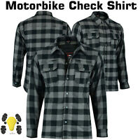 New Motorbike Lumberjack Flannel Shirt Armour Motorcycle Shirts CE Protection UK