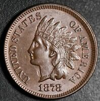 1878 INDIAN HEAD CENT - BU MS UNC - With CARTWHEELING BROWN MINT LUSTER!