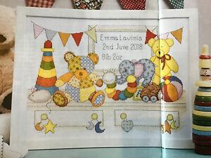 (B) Teddy Bear You Shelf New Baby Birth Sampler Cross Stitch Chart