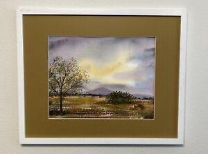 Watercolor Painting Impressionism, Valley Mountain Hilltop Ransom Style Country