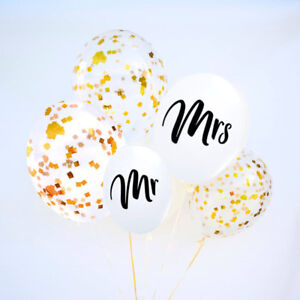 """Mr Mrs Balloons 11"""" clear balloons wedding bride Gold Confetti Foil"""