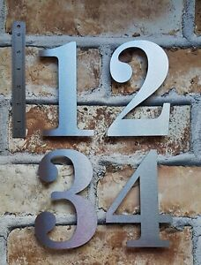 """Large 5.5""""/14cm floating classic house/door numbers 2mm brushed stainless steel"""