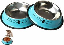 2Pcs Stainless Steel Pet Bowls Bella Dog Cat Food Water Feeding Dish Feeder Bowl