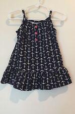 NEW $24 Carters Girls 3T Sleeveless Sun Dress NAVY BLUE WHITE Nautical   #218415