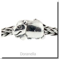 Authentic Trollbeads Sterling Silver 11215 Hippopotamus :1 RETIRED