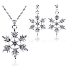 Christmas Crystal Alloy Accessories Earrings Jewelry Set Snowflake Pendant
