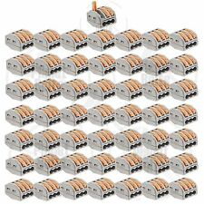 50x Terminal Block Lever Home Wire Connector 3 Pole Cable Clamp Nuts Reusable