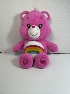 Care Bear Cheer Plush Stuffed Animal Pink Rainbow Hearts 2014 Just Play Furry