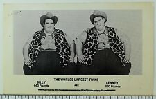 Circus Performers Guinness World Record Largest Twins Billy & Benny Postcard P34