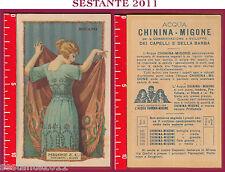 28 CARTOLINA PUBBLICITARIA ACQUA CHININA MIGONE  PROFUMIERI MILANO RICAMI