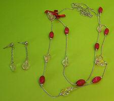 Damen Halskette mit Ohrringen in rosa/rot