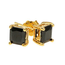 New 18ct Gold Filled Ladies / Girls Square Shaped Onyx Stud Earrings
