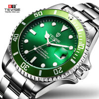 TEVISE Mens Stainless Steel Watch Automatic Mechanical Luminous Wristwatch T801