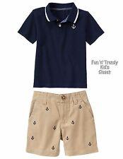 NWT Gymboree EGG HUNT Boys Size 6-12 Months Anchor Shorts & Polo Shirt 2-PC SET