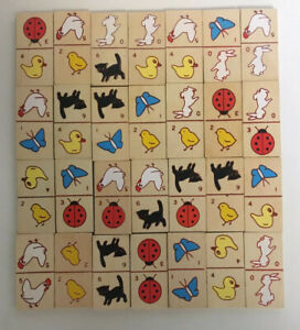 Wooden Animal Dominoes with box 28 pieces complete Made In Taiwan