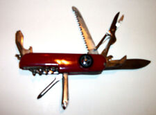 """Red Swiss Army """"Ranger"""" Multi-Tool  Knife made in china w/ compass !!!"""