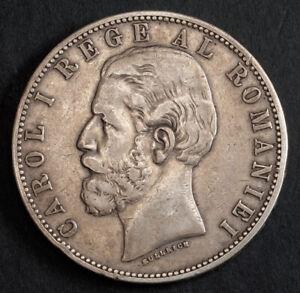 1883, Kingdom of Romania, Carol I. Beautiful Large Silver 5 Lei Coin. aXF!