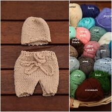 Newborn Hand Knit Shorts & Beanie Hat SET for Baby Boy Photo Prop Photography