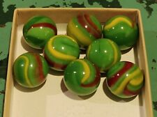 Vintage Dragon Swirl Marbles Green With Red & Yellow Swirl Possibly Vacor? 8pc