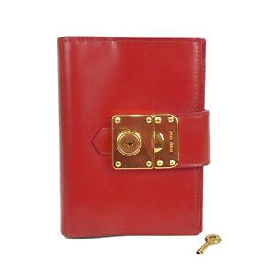 Auth MIU MIU Logos Leather Agenda Book Daily Planner Red F/S 19425bkac