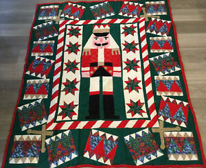 Patchwork Christmas Quilt Wall Hanging, Nutcracker, Stars, Triangles, Cotton