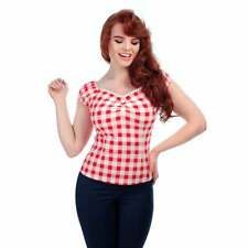 Collectif Vintage Red & White Gingham Dolores Top UK 8-22 1950s