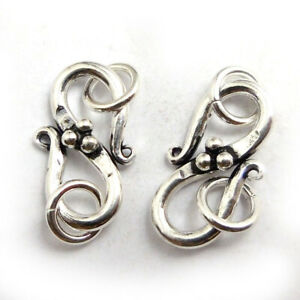 7 PCS 18X11MM BALI S HOOK CLASP ANTIQUE STERLING SILVER PLATED 589 MTT-226