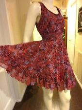 FLIRTY SWING STYLE FLORAL DRESS W/ ROSETTES BRIDESMAID, GRADUATION DRESS