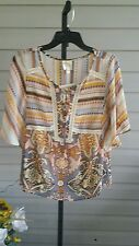 Fig and Flower Chiffon Peasant 2Pc Top Blouse/Cami Multi Color Size XL NWT$58