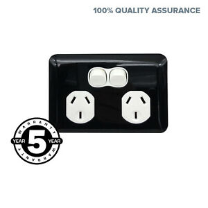 Wafer 10 AMP 3 Pin Slim Double Power Point Outlet Twin Socket DGPO Black & White