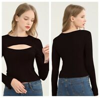 Women's Cut Out Bust Long Sleeve T-Shirt Tops Casual Basic Sexy Blouse Elegant