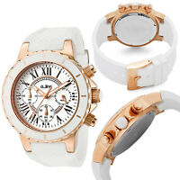 a_line Women's AL-20102DV Marina Chronograph White Textured Dial Silicone Watch