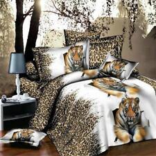 Set of 4Pcs 3D Tiger Duvet Cover Sheet Bed Linen Pillowcase Bedding Double Queen