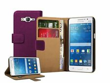 Wallet PURPLE Leather Flip Case Cover For Samsung Galaxy Grand Prime SM-G530F