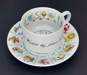 VINTAGE International Collectors Guild ASTROLOGY ZODIAC Chart SIGN Cup Saucer