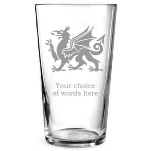 Personalised Engraved Beer Pint Glass Cymru Welsh Dragon Wales Gift