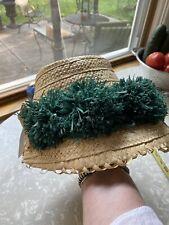 Vintage straw raffia hat beach 1950s