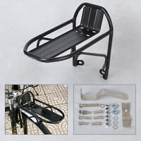 Black Aluminum Alloy Bike Bicycle Front Rack Luggage Shelf Panniers Bracket