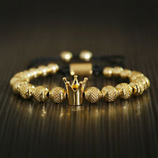 New Men Women Copper Beads Ball Crown Hand Braided Rope Charm Bracelets Jewelry