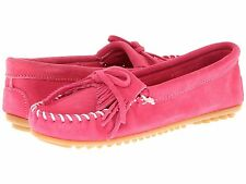 Minnetonka Women's 401 Hot Pink Suede Kilty Moccasins Shoes size 5