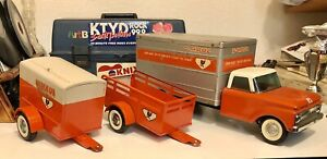 Vintage Nylint Ford U Haul Box Truck Coil Spring Suspension & Two Trailers