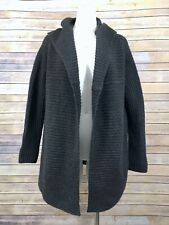 Vince Cardigan Sweater S Charcoal Gray Brown Ribbed Open Hooded CHUNKY KNIT