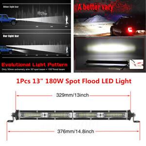 13 inch 180W Single Row Spot Flood Beam Off-Road LED Work Light Bar Waterproof